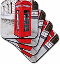 3dRose CST_56177_3 London's Famous Red Phone Booths Ceramic Tile Coasters, Set of 4