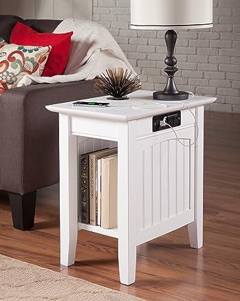 Atlantic Furniture AH13312 Nantucket Side Table Rubberwood White