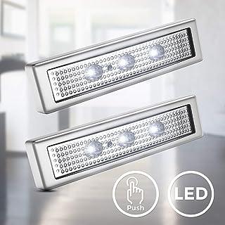 com-four/® 4X Lampada di Pressione a LED Lampada a LED a Batteria con pressostato 04 Pezzi - Lampada a Pressione Lampada autoadesiva con 4 LED Perfetta per Armadio e Cucina