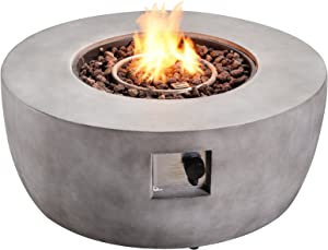 Peaktop Concrete Propane Gas Fire Pit Table with ETL Certification, PVC Cover and Lava Rocks for Outdoor Patio Garden Backyard Decking Décor, 50,000 BTU, 36 inch Length, Light Gray