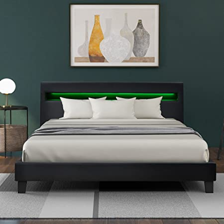 140 x _200 cm Lit rembourré à LED en cuir synthétique et cadre en bois gris avec éclairage LED et sommier à lattes 140 x 200 cm