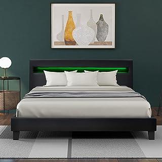 140 x _200 cm Lit rembourré à LED en cuir synthétique et cadre en bois gris avec éclairage LED et sommier à lattes 140 x 2...