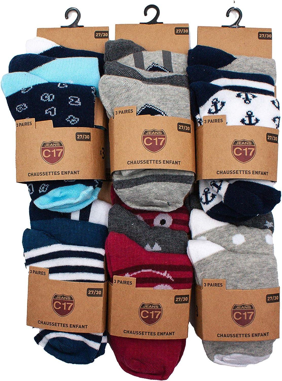 Confortables et Doux C17 Chaussettes Fantaisies Gar/çons Pack de 6 12 15 ou 18 Assortiment mod/èles photos selon arrivages