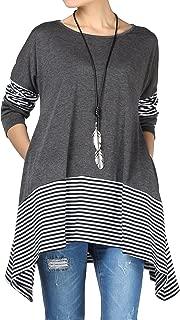 Women's Stripes Asymmetry Tunic Swing Flowy Plain T-Shirt...