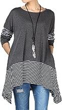 Mordenmiss Women's Stripes Asymmetry Tunic Swing Flowy Plain T-Shirt Top