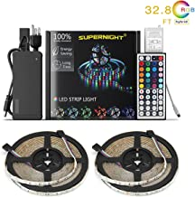 NEW 2019 LED Strip Lights Kit Waterproof – TWO 16.4ft 600 LEDs SMD 3528 RGB Light with 44 Key Remote Controller, Extra Adhesive Tape, Flexible Changing Multi-Color Lighting Strips for TV, Room