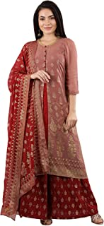 Aurelia Women's Synthetic Straight Salwar Suit Set (19AUAS10908-500846_Pink_X-Small)