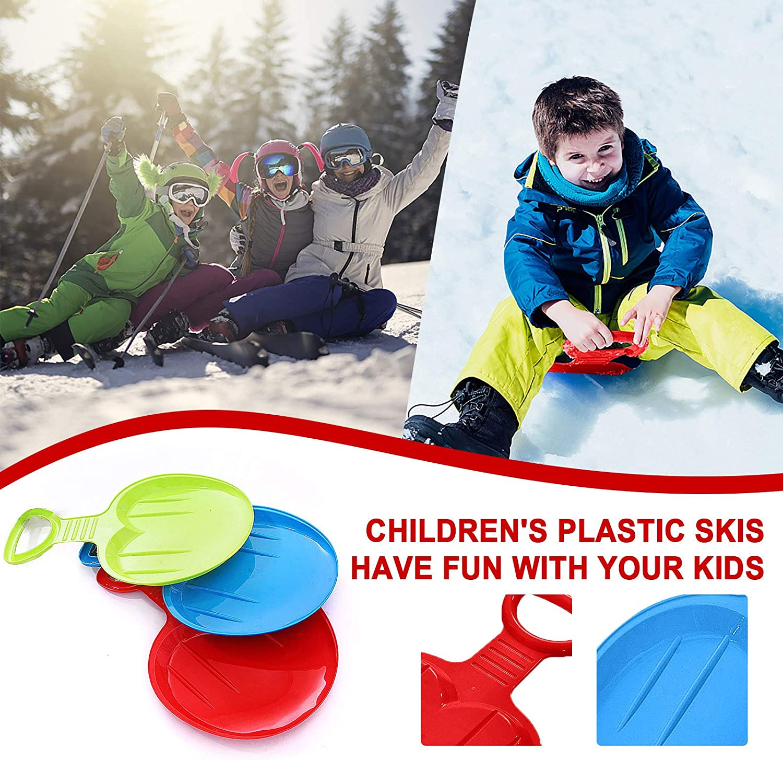Rouge 4-12 Ans Luge de Descente Planche de Luge /à Neige en Plein air Hiver Planches de Ski en Plastique Neige Luge pour Enfants Momolaa Tra/îneau /à Neige