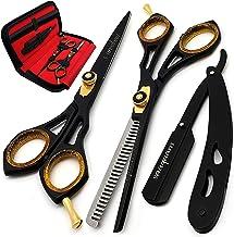 Saaqaans SQKIT Professional Hairdressing Scissors Set - بسته بندی شامل برش قیچی، برش نازک، برش مستقیم، 10 برس دوبل و ترکیب برش مو در مورد شیک قیچی سیاه