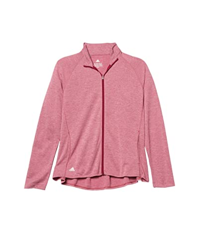 adidas Golf Kids Heathered Knit Jacket (Little Kids/Big Kids) (Power Berry Melange) Girl
