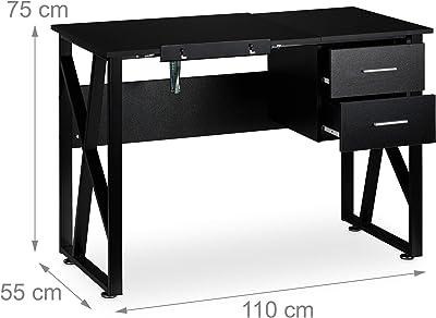 Relaxdays Noir Bureau avec pupitre inclinable, réglable, Table de Laptop ou de Dessin, 75 x 110 x 55 cm, Panneau de Particules, Fer