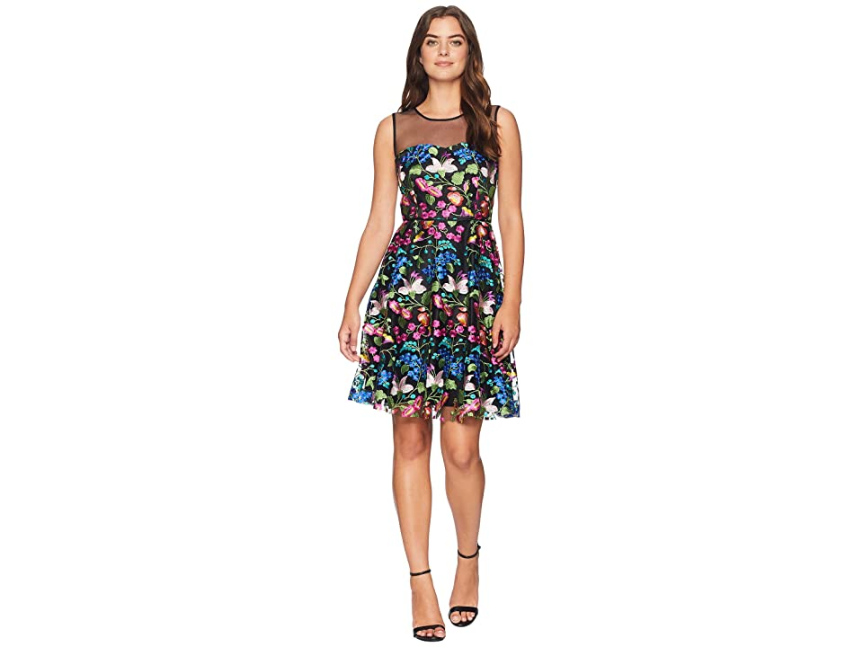 Tahari by ASL Mesh Embroidered Party Dress (Black/Cobalt/Fuchsia) Women