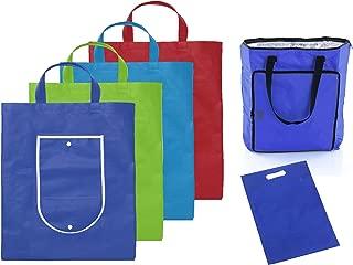 MARKESYSTEM - 5 Bolsas de la Compra Reutilizables, Plegables, Tejido Resistente - Pack Supermercado - Practico para IR a Comprar - (1 Bolsa isotérmica + 4 Bolsas de Colores + 1 bolsita portadora)