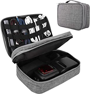 MoKo Electronics Organizer Bag, [Double Layer] Travel Universal Electronics Accessories Case, Waterproof Travel Cables Storage Box Fit iPad Mini, Smartphone, Flash Driver, Charger and More - Gray