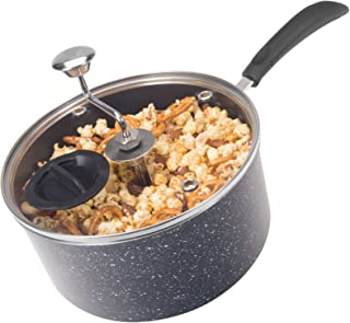 Zippy Pop Black Marble Stovetop Popcorn Popper with Glass Lid, 4-Quart Capacity