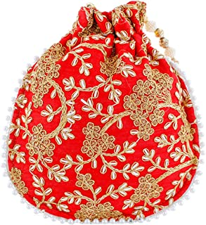 Heart Home Ethnic Clutch Silk Potli Batwa Pouch Bag with Beadwork Gift for Women (Red) - CTHH13601