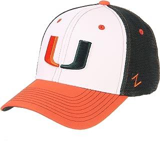 Zephyr NCAA Miami Hurricanes Men's Threepeat Relaxed Cap, White/Team Color, Adjustable