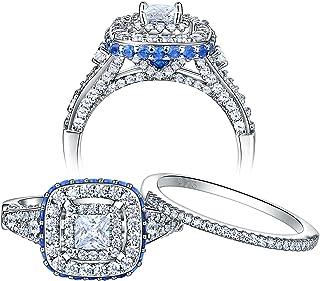 Newshe خواتم زفاف للنساء خاتم الخطوبة مجموعة من الفضة الاسترليني الأميرة 2.1Ct Cz الأزرق الحجم 5-10