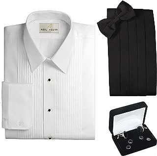 Tuxedo Shirt, Cummerbund, Bow Tie, Cufflink & Studs Set - Laydown Collar, M (15-15.5 Neck, 32/33 Sleeve) white