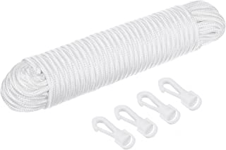 Katai 80ft Nylon Flag Rope. ¼ Inch Thick White Flag-line Halyard Complete with 4 Hook Clips