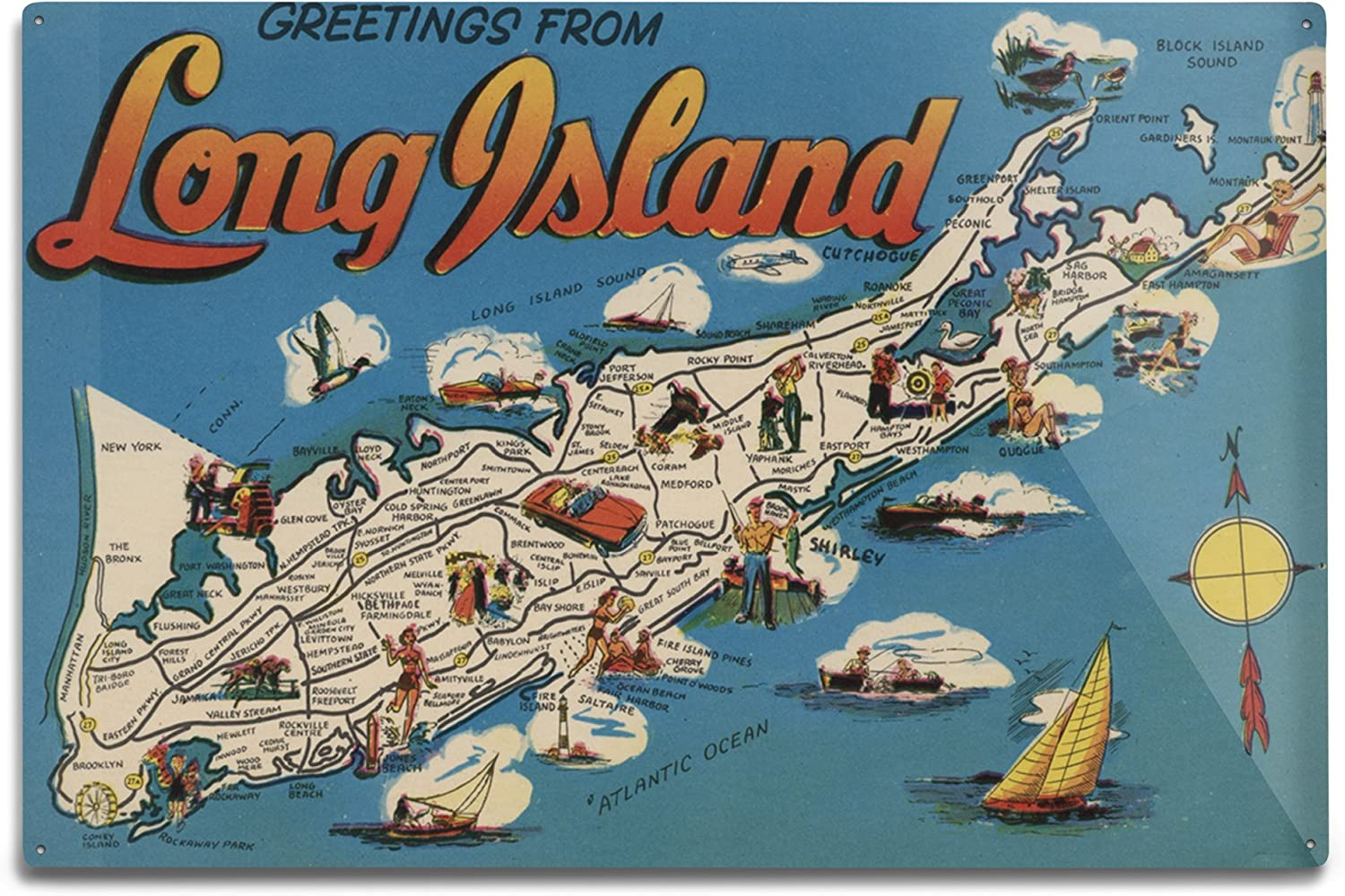 Greetings From Long Island New York View Vintage Halftone 6162 9x12 Art Print Wall Decor Travel Poster Posters Prints