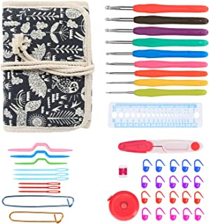 Damero Ergonomic Crochet Hooks Kit Organizer, Travel Canvas Roll Set with 9pcs Crochet Hooks, Comfortable Rubber Grip and Crocheting Accessories Supplies, Carrying with Ease, Animal World