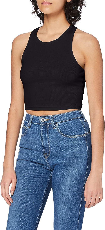Urban Classics Ladies Cropped Rib Top Camiseta sin Mangas para Mujer