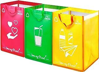janaa♻️ Poubelle Tri Sélectif {Design} Lot de Sacs de Tri Sélectif pour Le Recyclage des Déchets en Verre, Plastique, Papi...