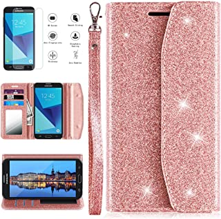 Samsung Galaxy J3 Luna Pro Case, Galaxy J3 Prime Case, J3 Emerge/J3 Eclipse/J3 2017/Amp Prime 2/Express Prime 2/Sol 2/J3 Mission Wallet Phone Case with Screen Protector Card Holder for women,Rose Gold