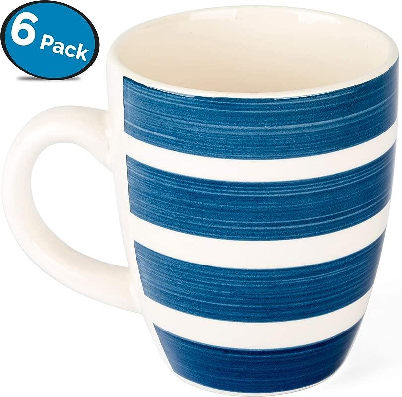 LVKH Blue And White Coffee Mug Set Hand Made Stoneware Ceramic 12 5 Ounces 6 Pieces