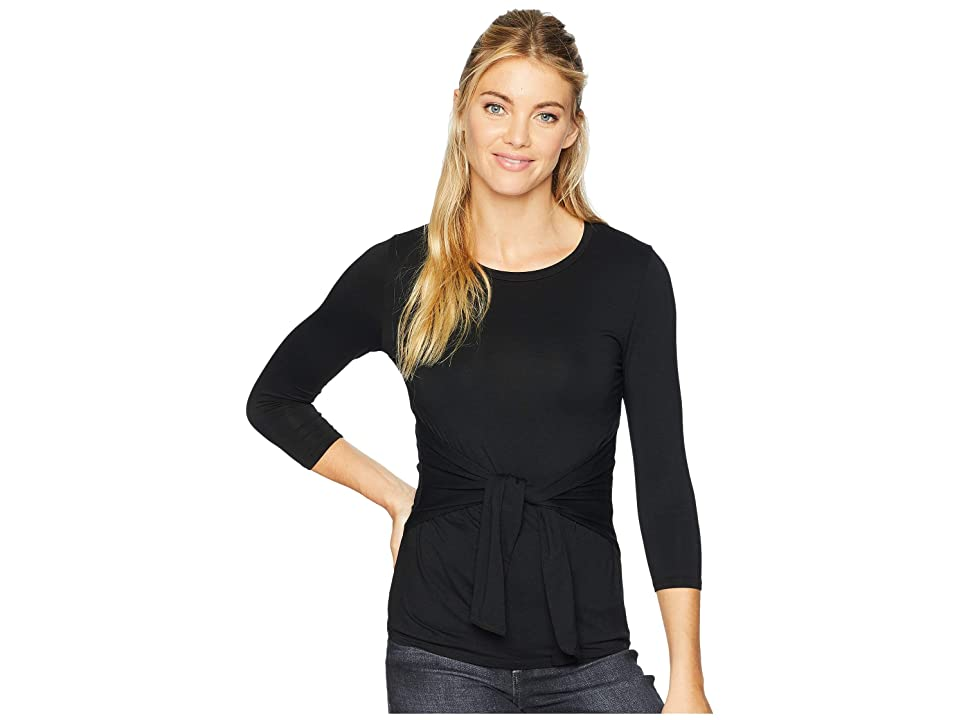 71beda7fa4b3 Three Dots 3 4 Sleeve Tie Front Top (Black) Women