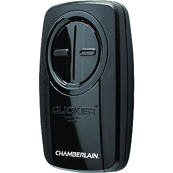 Chamberlain Group KLIK3U-BK Clicker Universal 2-Button Garage Door Opener Remote with Visor Clip, Black