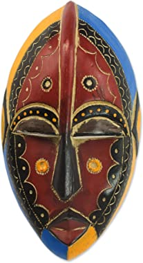 NOVICA Red Blue and Yellow Sese Wood Wall Mounted African Mask, Uzoma'