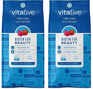 Vitafive Extra Strength Biotin Gummy Vitamins for Beauty, Hair, Skin and Nail Strength (2 Pack) Natural Strawberry Flavor,...