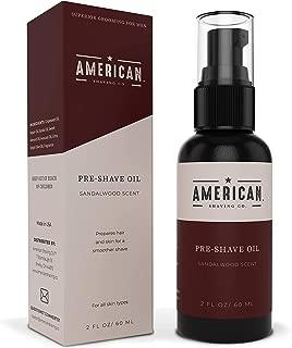 American Shaving Pre Shave Oil For Men (2oz) - Sandalwood Barbershop Scent - 100% Natural Handcrafted Blend w/Argan & Jojoba - Best Men's Shaving Oil for Effortless Irritation-Free Shaving