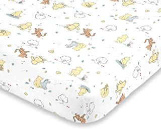 Disney Winnie The Pooh Classic Pooh 100% Cotton Fitted Crib Sheet, Ivory, Butter, Aqua, Orange
