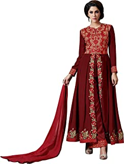 Sourbh Women's Faux Georgette Embroidered Semi-Stitched Partywear Dress Material