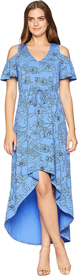 Mod-o-doc Printed Slick Jersey Cold Shoulder Cinch Waist Dress