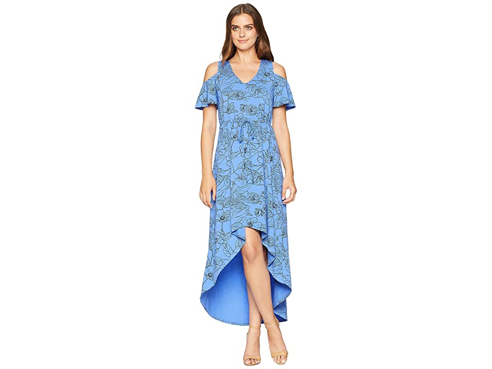 Mod-o-doc Printed Slick Jersey Cold Shoulder Cinch Waist Dress (Tanzanite) Women