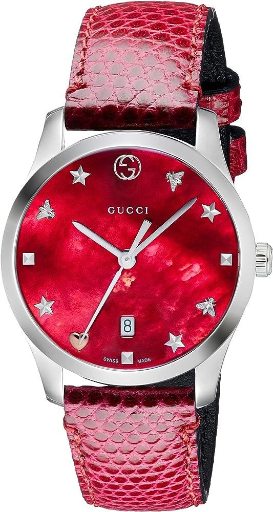 Gucci orologio da donna cassa in acciaio quadrante in madreperla rossa e cinturino in pelle YA126584