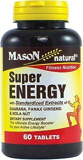 MASON NATURAL, Super Energy with Guarana, Panax Ginseng & Kola Nut Tablets, 60 Count