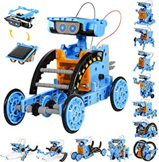 Sillbird STEM Projects 12 in 1 Solar Robot Toys for Kids, 190 Pieces Solar and Cell Powered Dual Drive Motor DIY Building ...
