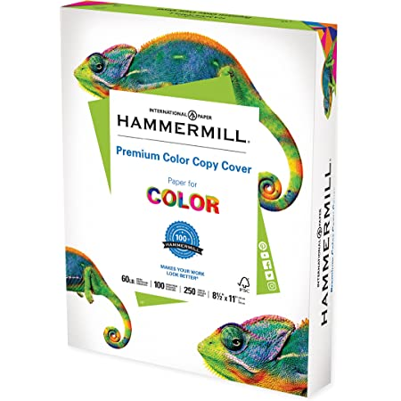 Hammermill Cardstock, Premium Color Copy, 60 lb, 8.5 x 11 - 1 Pack (250 Sheets) - 100 Bright, Made in the USA Card Stock, 122549R , White