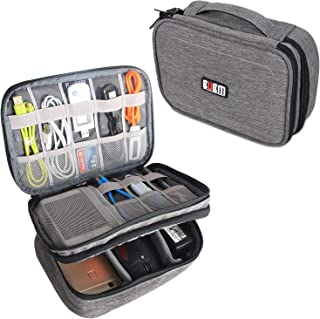 """BUBM Electronic Organizer, Double Layer Travel Gadget Storage Bag for Cables, Cord, USB Flash Drive, Power Bank and More-a Sleeve Pouch for 7.9"""" iPad Mini (Medium,Denim Gray)"""