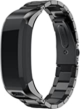 ANCOOL Compatible with Vivosmart HR Bands, Accessory Stainless Steel Replacement Bracelet Unique High Grade Watch Decor Band Metal Straps for Garmin Vivosmart HR(NOT for Vivosmart HR+) -Black