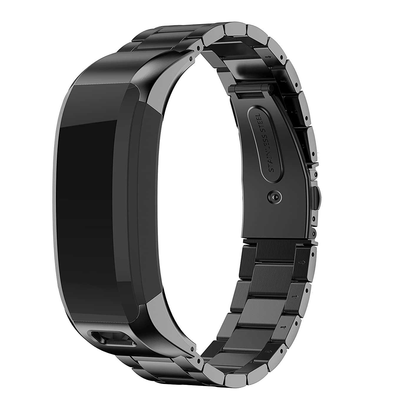 ANCOOL Band Compatible with Smartwatch, Accessory Stainless Steel Replacement Braceklet Unique High Grade Watch Decor Band Metal Straps for Garmin Vivosmart HR(NOT for Vivosmart HR+) -Black