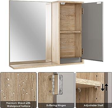 HOMECHO Armoire Murale avec Miroir, Armoire de Toilettes, Meuble de Salle de Bain avec Étagères de Rangement, 1 Portes à Miro