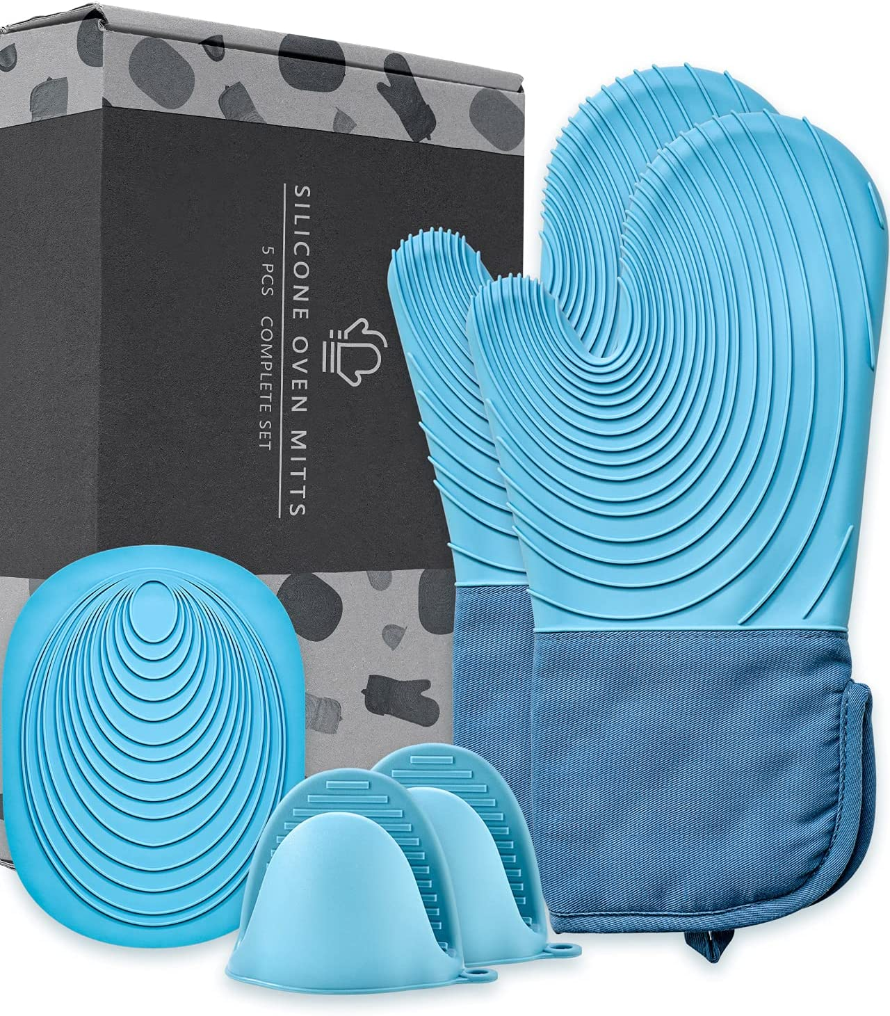 EUNA Silicone Oven Mitts, Heat Resistant Oven Mitts and Pot Holders Sets, Non-Slip Kitchen Mittens with Mini Oven Gloves and Hot Pads, Perfect for Baking Cooking, Quilted Liner, Gift Box, Blue & Azure