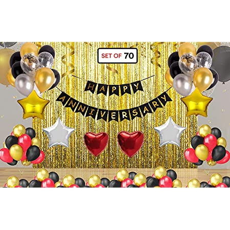 Theme My Party Happy Anniversary Latex Decoration Combo, Pack Of 60, Gold