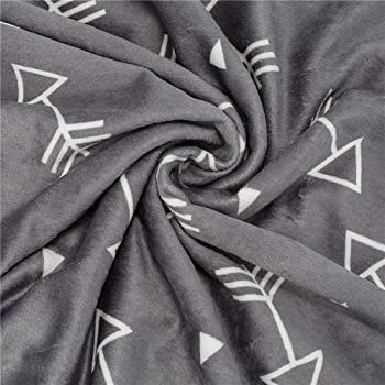 BORITAR Baby Blanket Super Soft Minky with Double Layer Dotted Backing, Little Grey Arrows Printed 30 x 40 Inch, Rece...